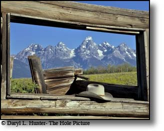 Shane Cabin, cowboy hat, grand tetons, Jackson Hole, wyoming
