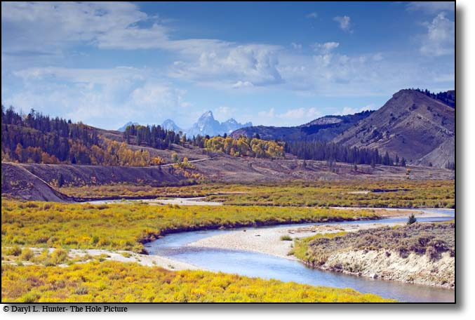 The Gros Ventre River draining toward the Snake River and the Grand Tetons