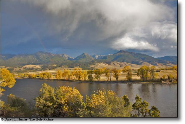 Paradise Valley thunderstorm, rainbow, fall colors and the Yellowstone River