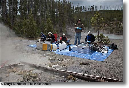 Microbiologists research thermophiles in Yellowstone National Park