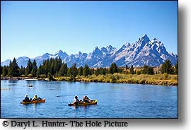 kayakers, snake river, grand tetons, grand teton national park