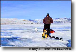 Ice fisherman, Wind River Mountains, Fremont Lake, Sublette County, Pinedale, Wyomng