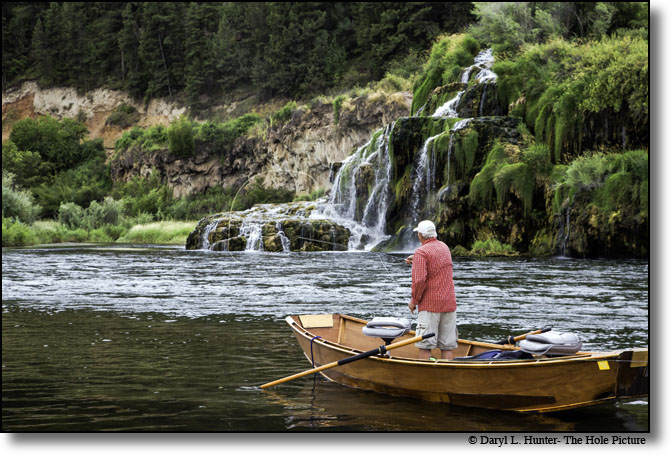 Fly-fisherman, fall creek falls, south fork snake river, swan valley, Idaho