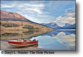 red fishing boat, wind river mountains, green river lake, square top mountain, pinedale, wyoming