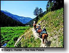 Horseback riding high in the Snake River Range near Swan Valley Idaho